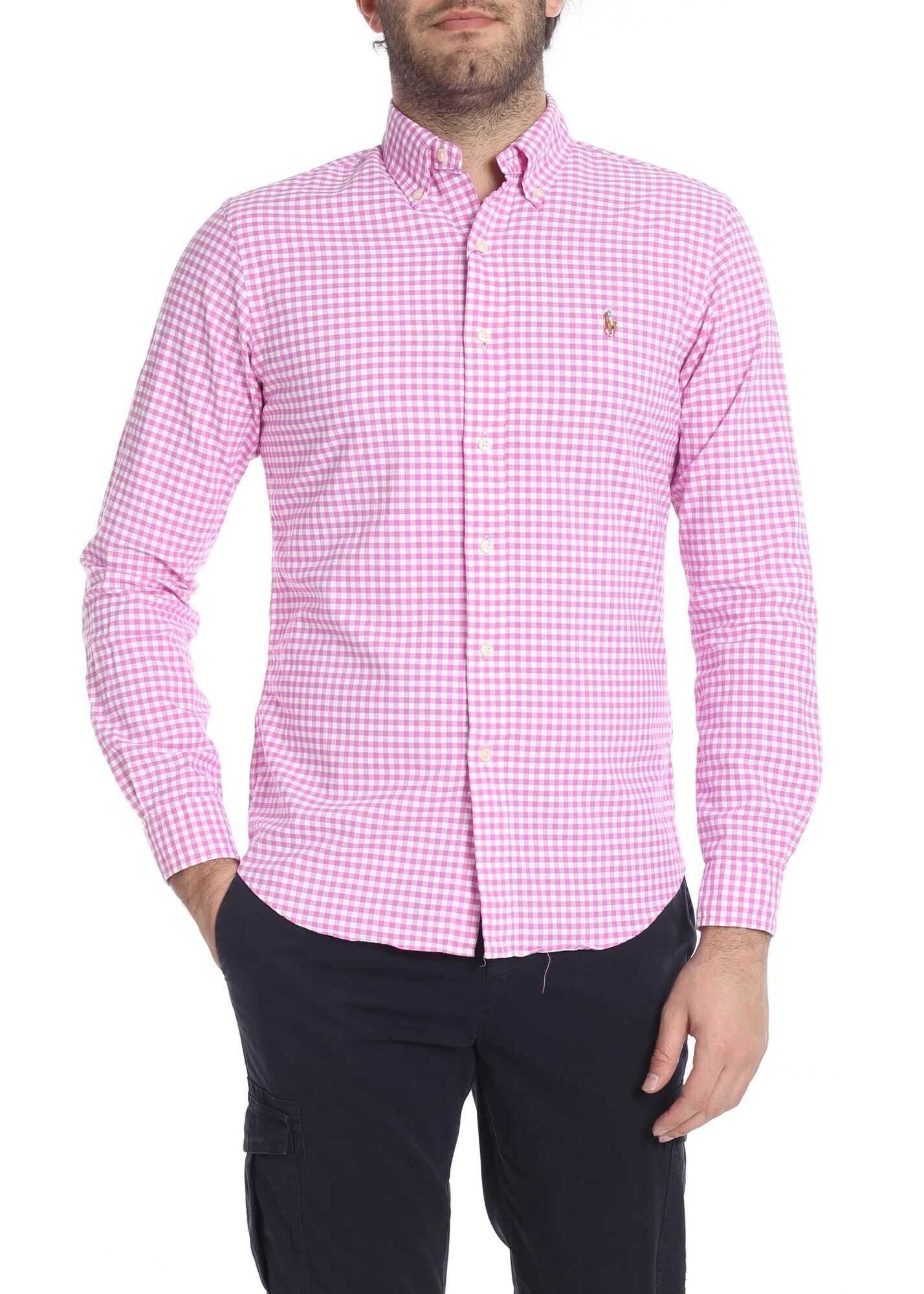 Ralph Lauren Vichy Shirt In White And Pink Pink imagine