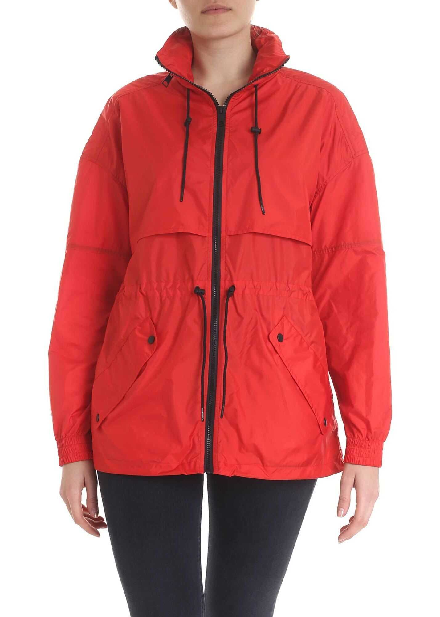 Red Technical Jacket With Logo