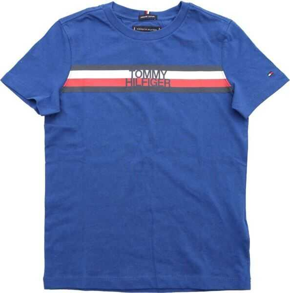 Tricouri Baieti Tommy Hilfiger Blue T-Shirt With Logo Print