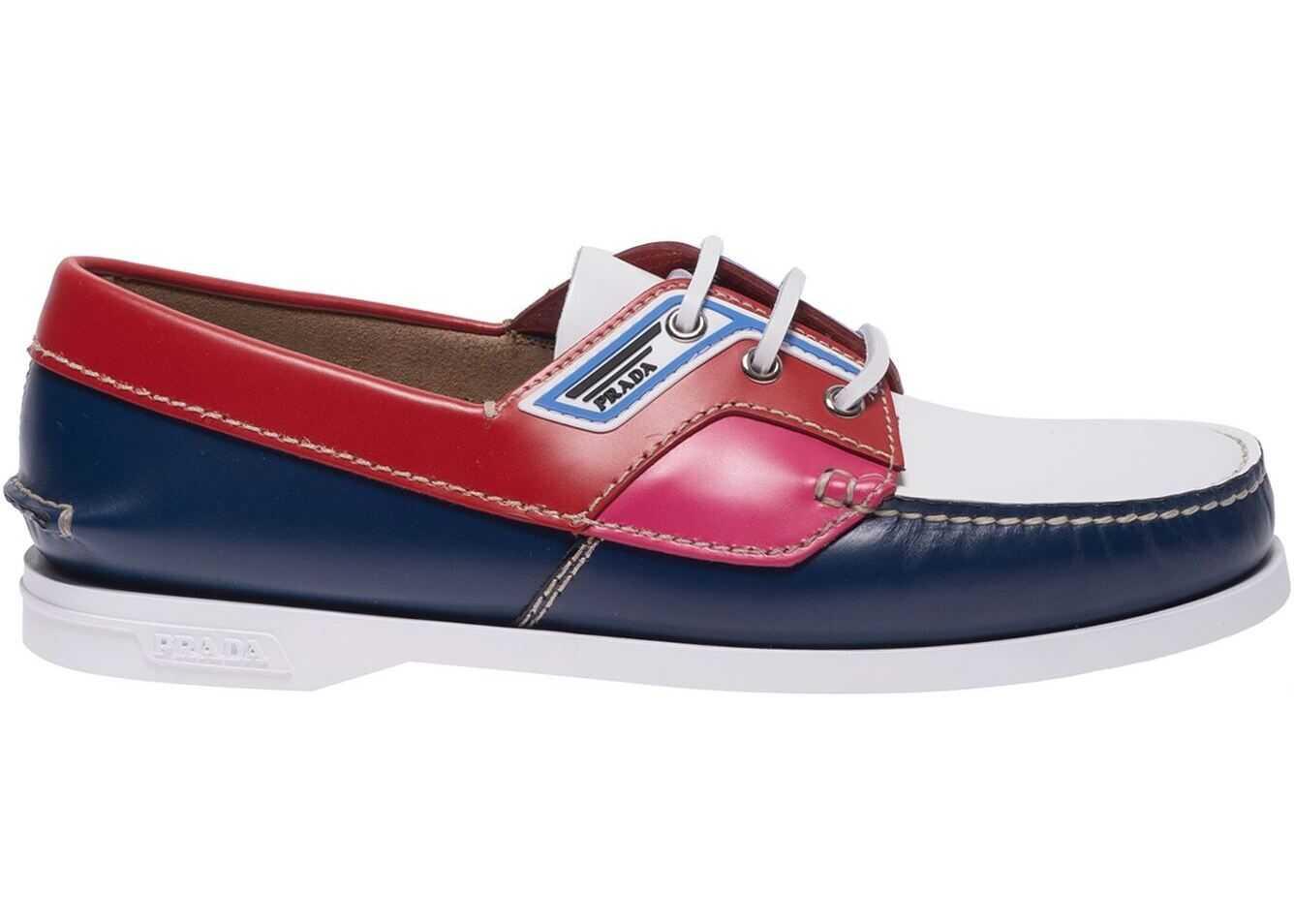 Prada Brushed Multicolor Leatherboat Shoes 2EG270 85M F0ASY Multi imagine b-mall.ro