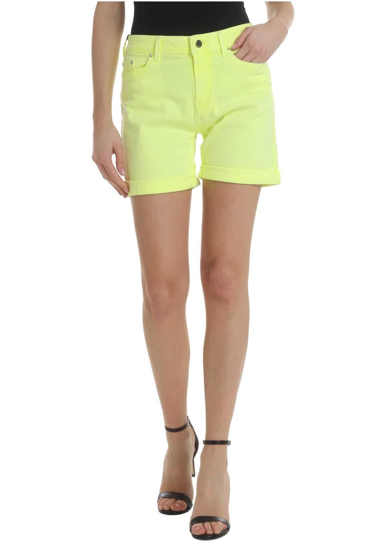 Karl Lagerfeld Neon Yellow Rolled Shorts Yellow