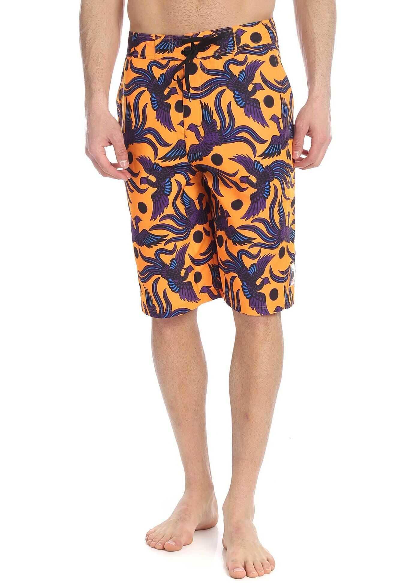 Kenzo Flying Phoenix Swimsuit In Orange Orange imagine