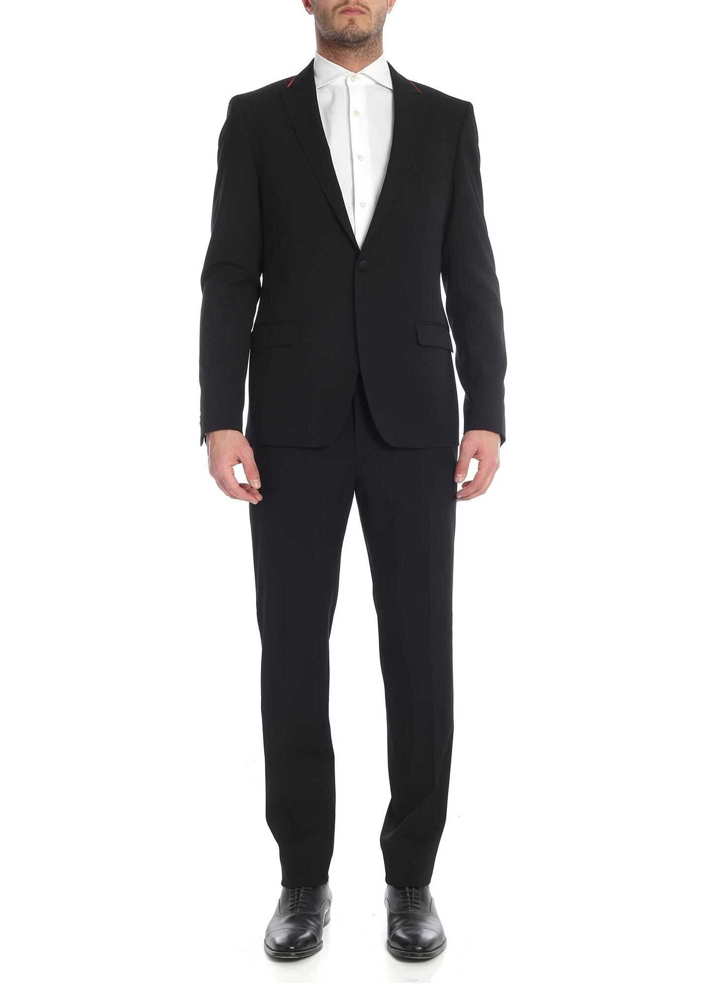 Karl Lagerfeld Single-Breasted Suit With Single Button Black imagine