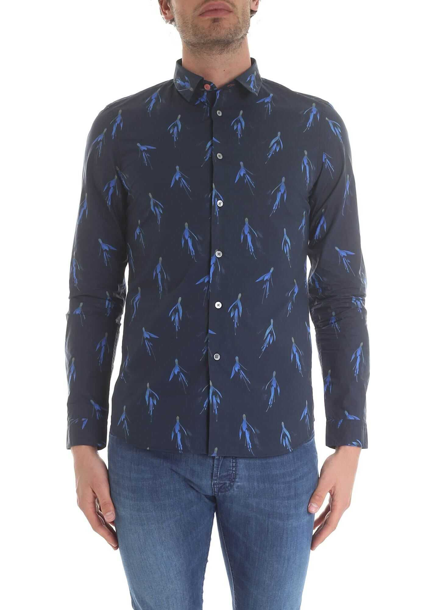 Paul Smith Floral Shirt In Blue Blue