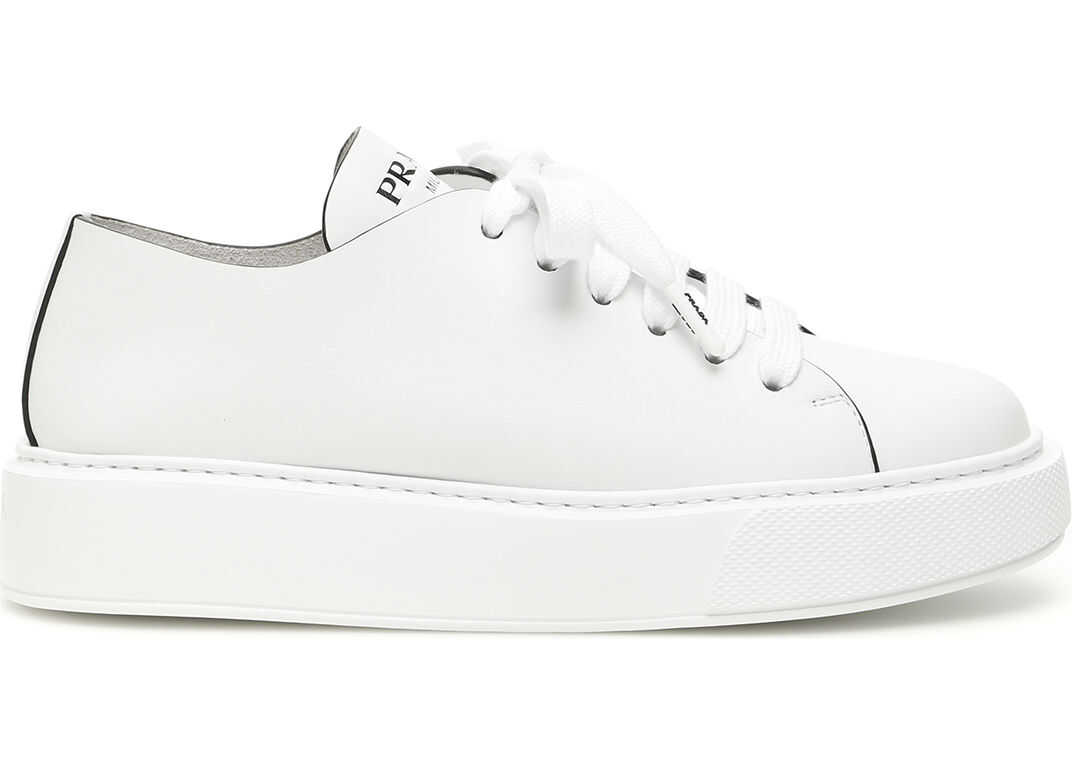 Prada Raw-Cut Leather Sneakers BIANCO