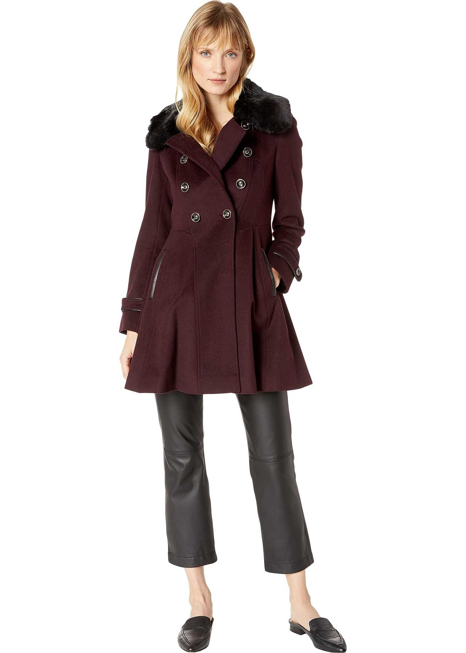 Double Breasted Faux Fur Club Collar Fit 'n Flare Coat