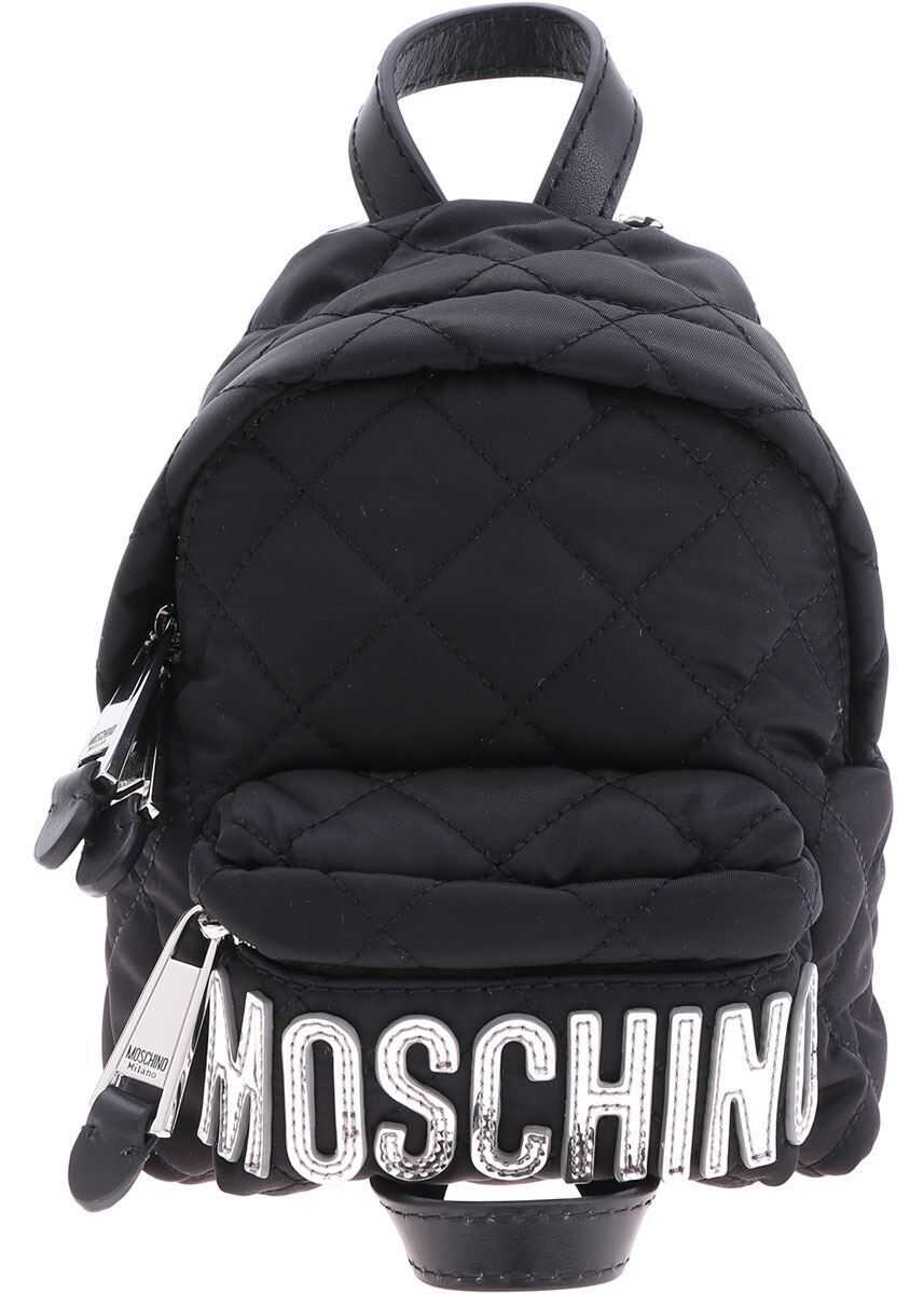 Moschino Mini Backpack With Tone-On-Tone Logo In Silver 7609 8201 4555 Black imagine b-mall.ro
