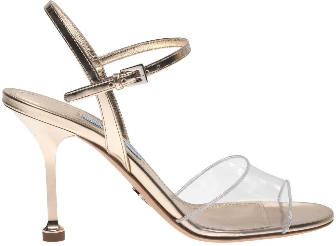 Prada Sandals In Golden Leather And Plexi Gold