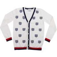 Pulovere casual White Wool Cardigan With Tiger Embroidery Baieti