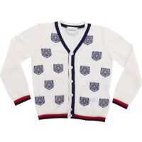 Pulovere casual White Cardigan With Gucci Tiger Embroidery Baieti