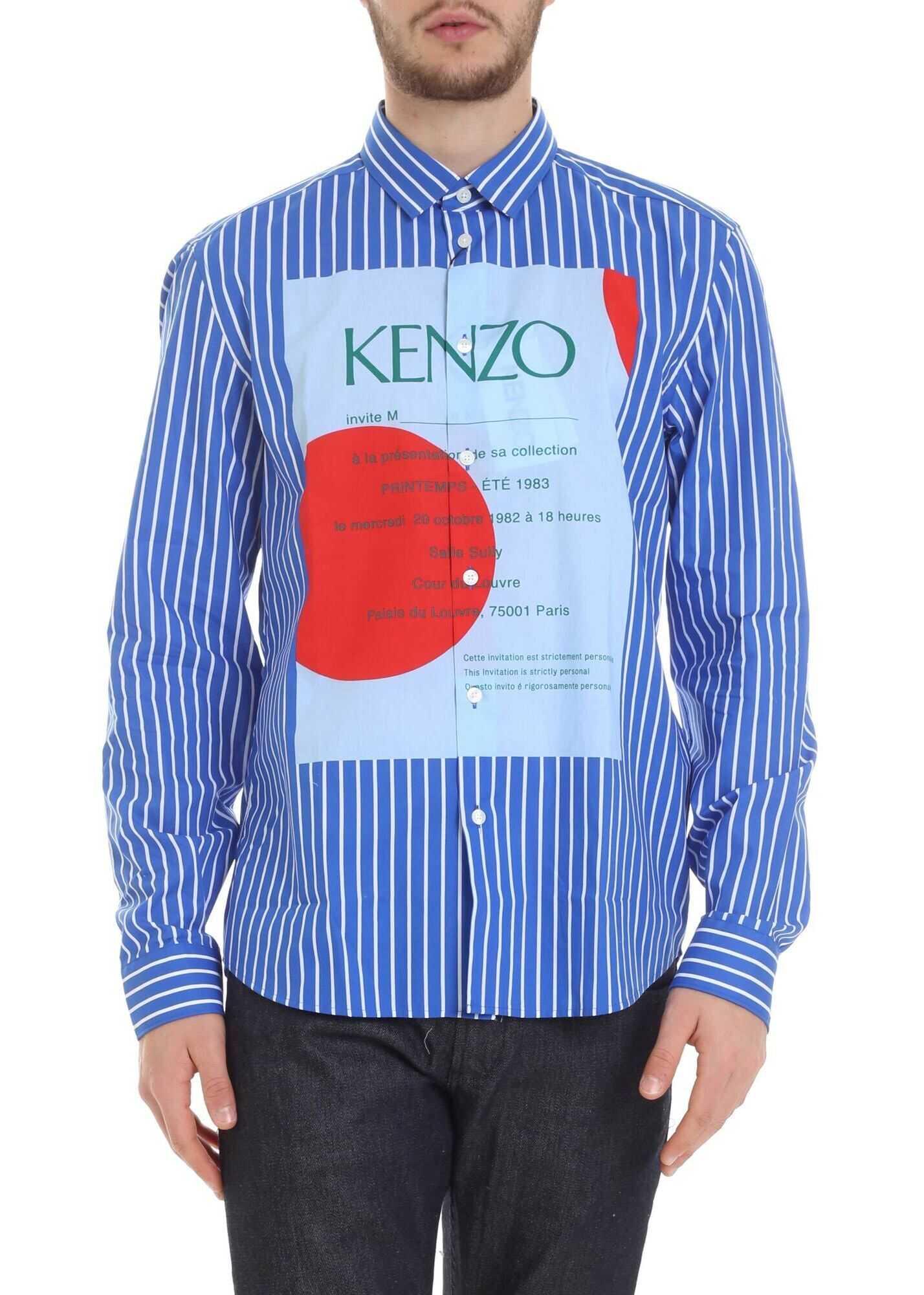 Kenzo Striped Wedding Invitation Shirt Blue imagine