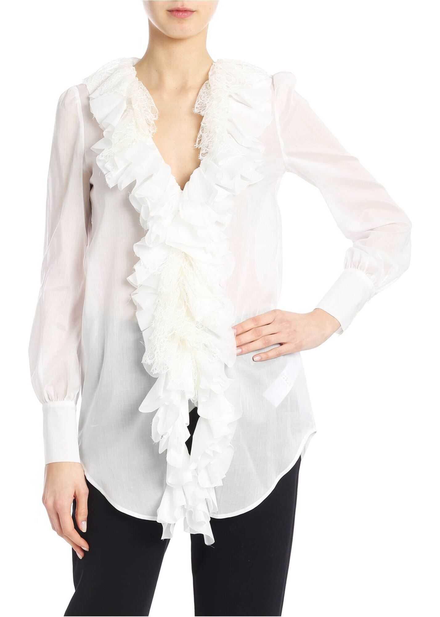 Blumarine Ruffles And Lace Shirt In White White