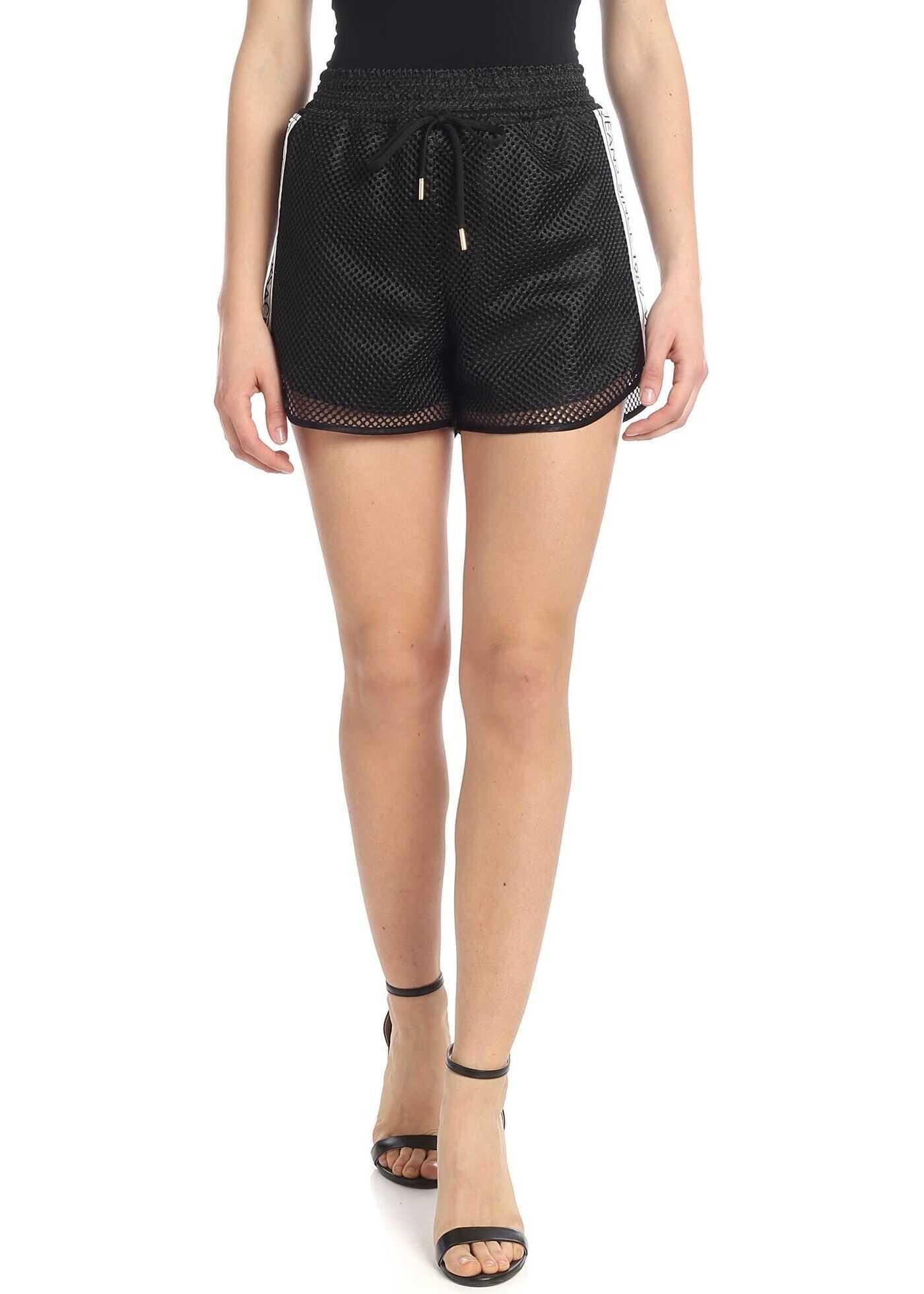 Versace Jeans Black Mesh Fabric Shorts Black