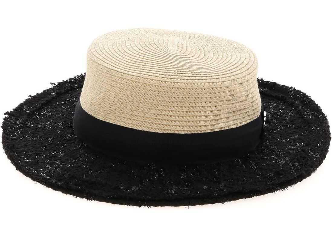 Karl Lagerfeld Fedora Hat In Black Tweed Beige
