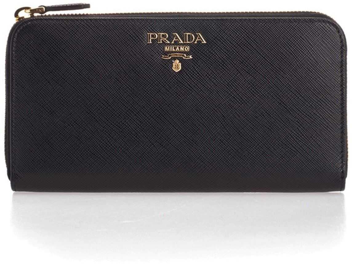 Prada Black Wallet With Golden Prada Logo Black