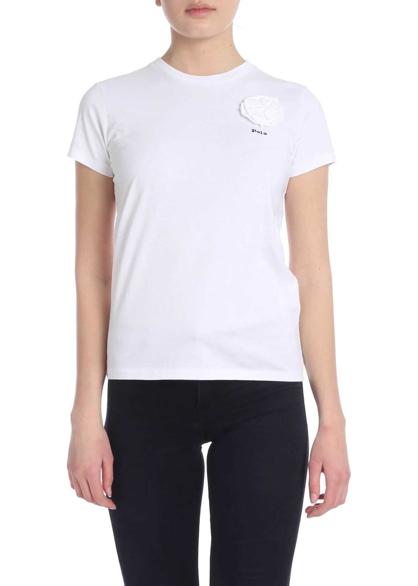 White T-Shirt With Flower Embellishment