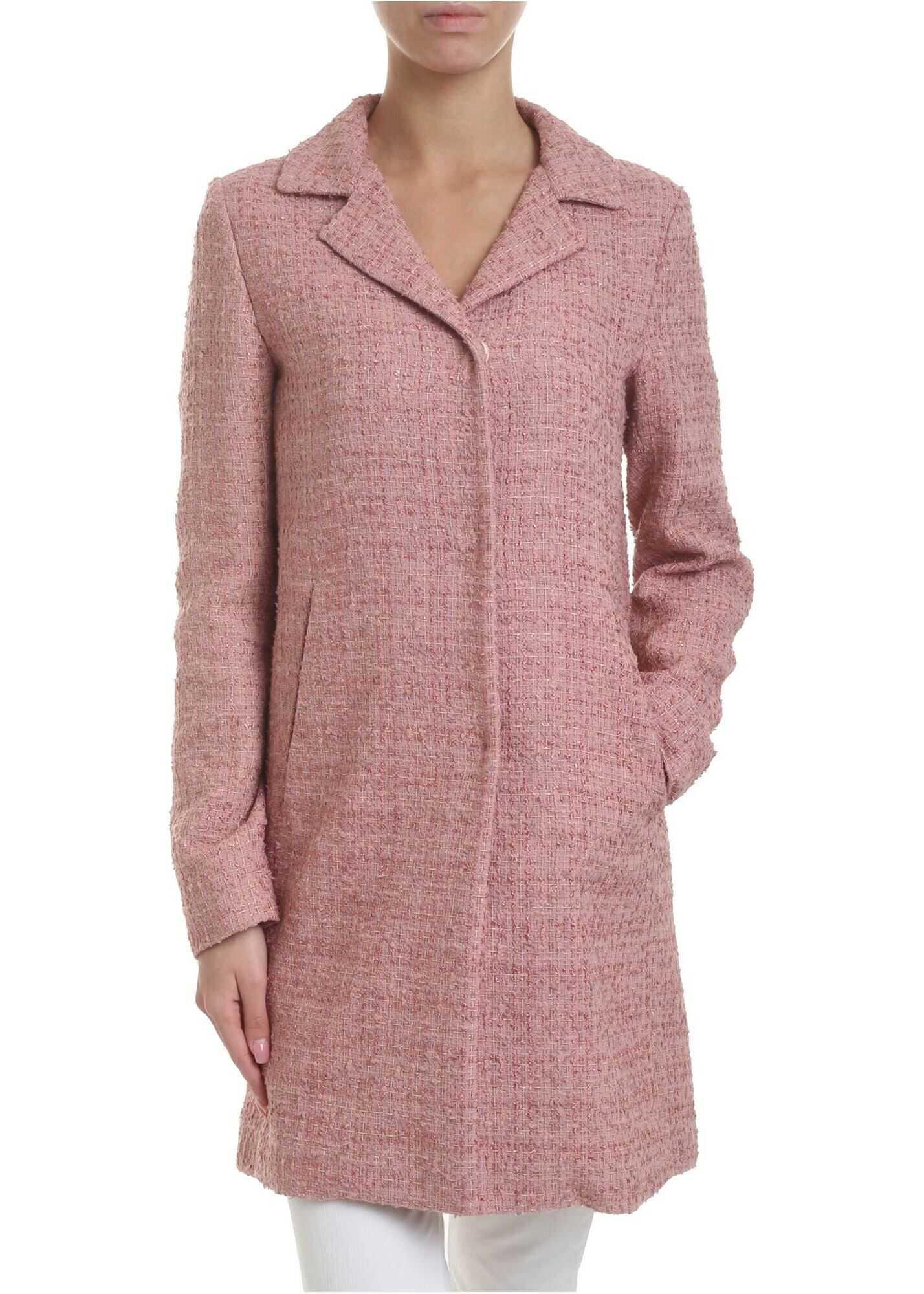 Bouclé Coat In Pink With Lamé Inserts