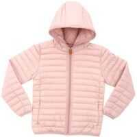 Geci de iarna Pink Hooded Down Jacket With Logo Fete