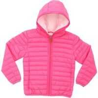 Geci de iarna Bright Pink Hooded Down Jacket With Logo Fete