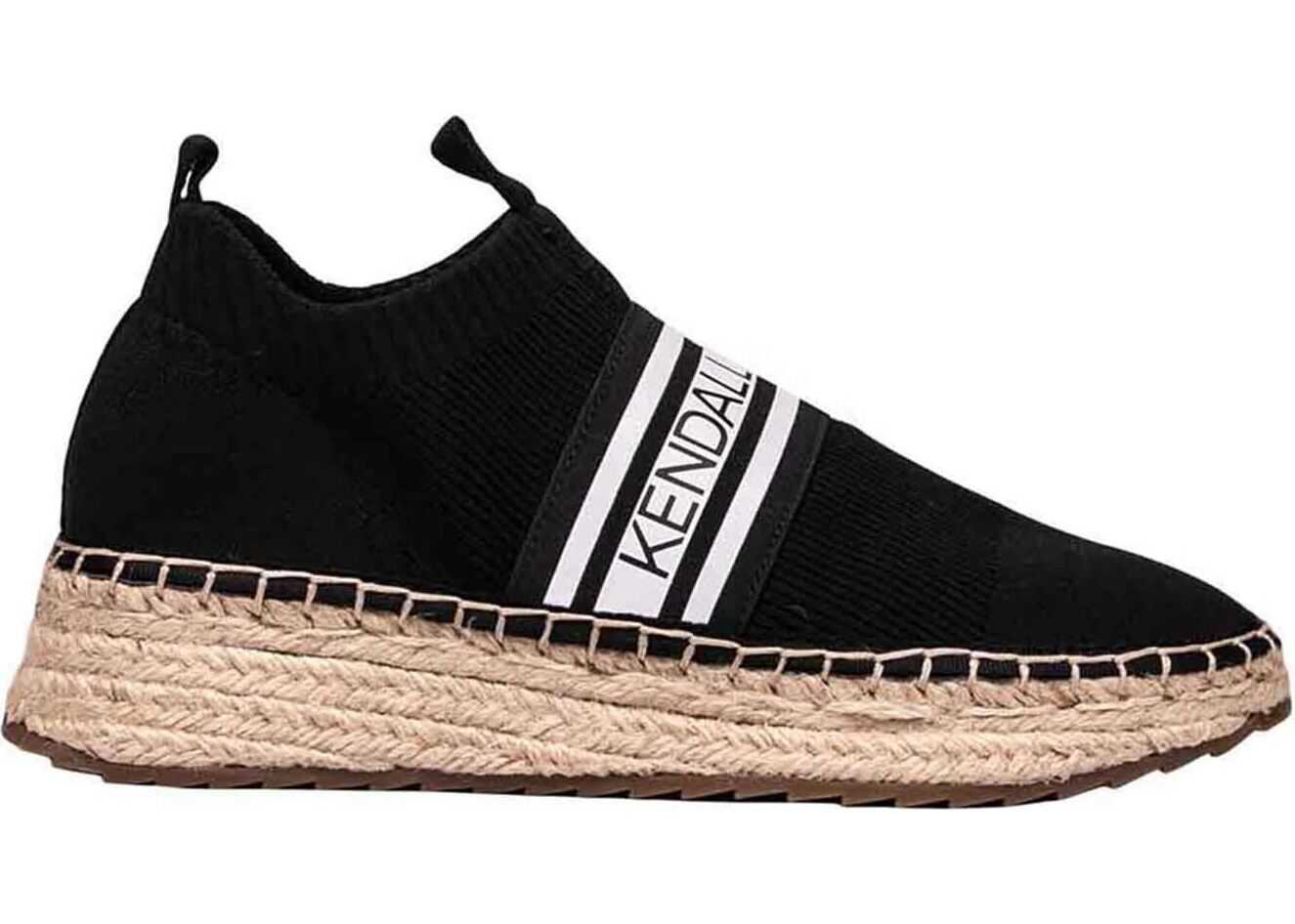 KENDALL + KYLIE Jake Sneaker In Black With Rope Sole Black