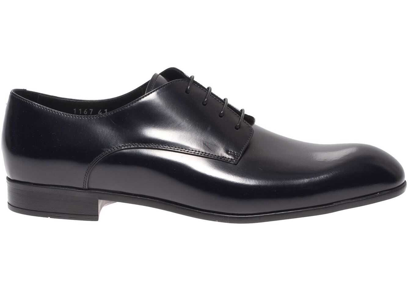 Doucal's Brushed Leather Derby In Dark Blue DU1167LIMEUF028NB00 Blue imagine b-mall.ro