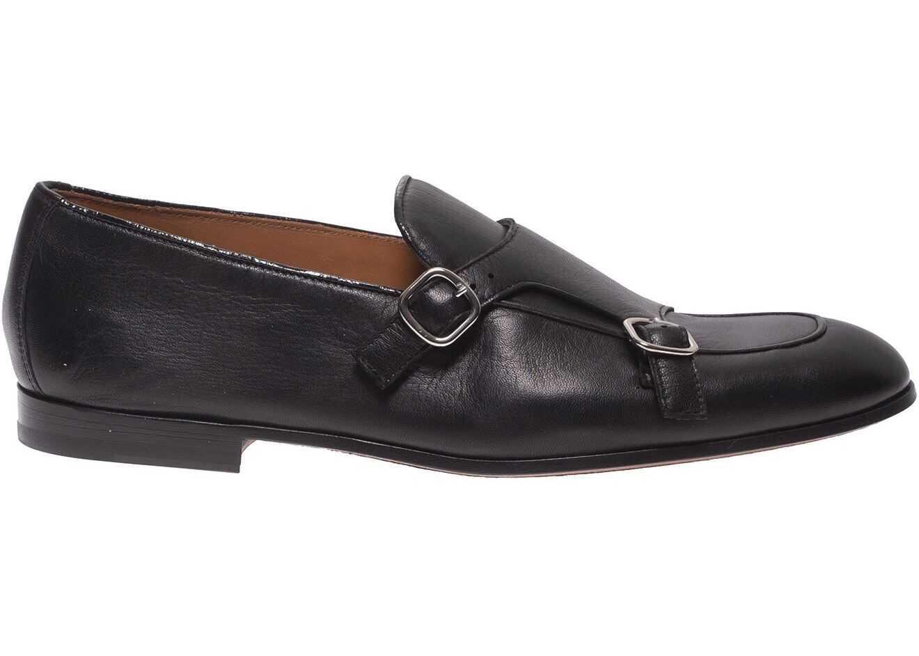 Doucal's Vintage-Effect Monk Strap In Black DU2364CAPRUF061NN00 Black imagine b-mall.ro