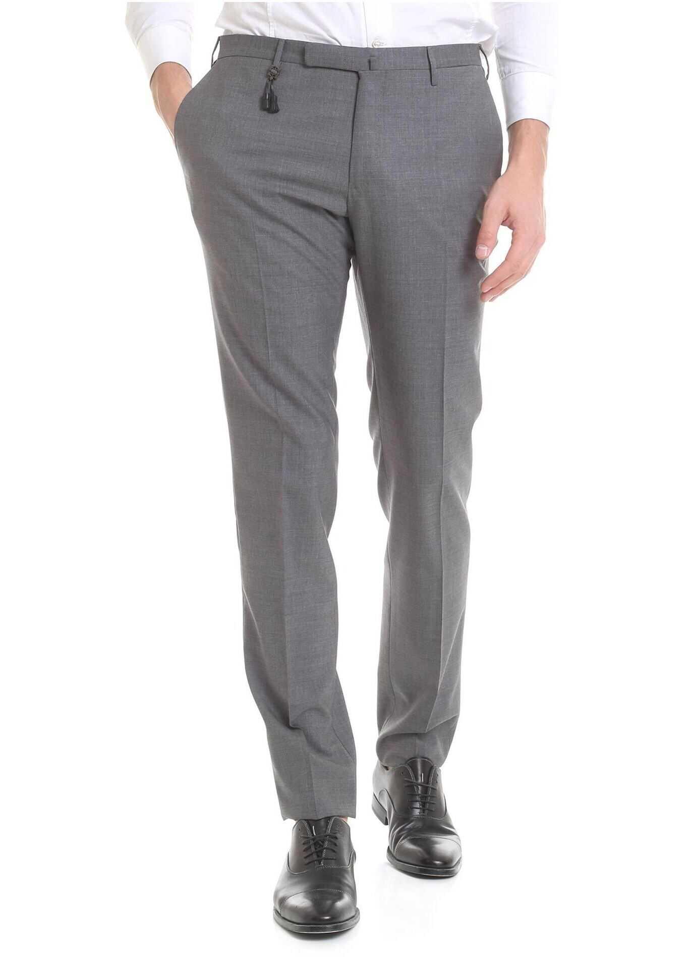 Incotex Grey Melange Wool Trousers Grey imagine