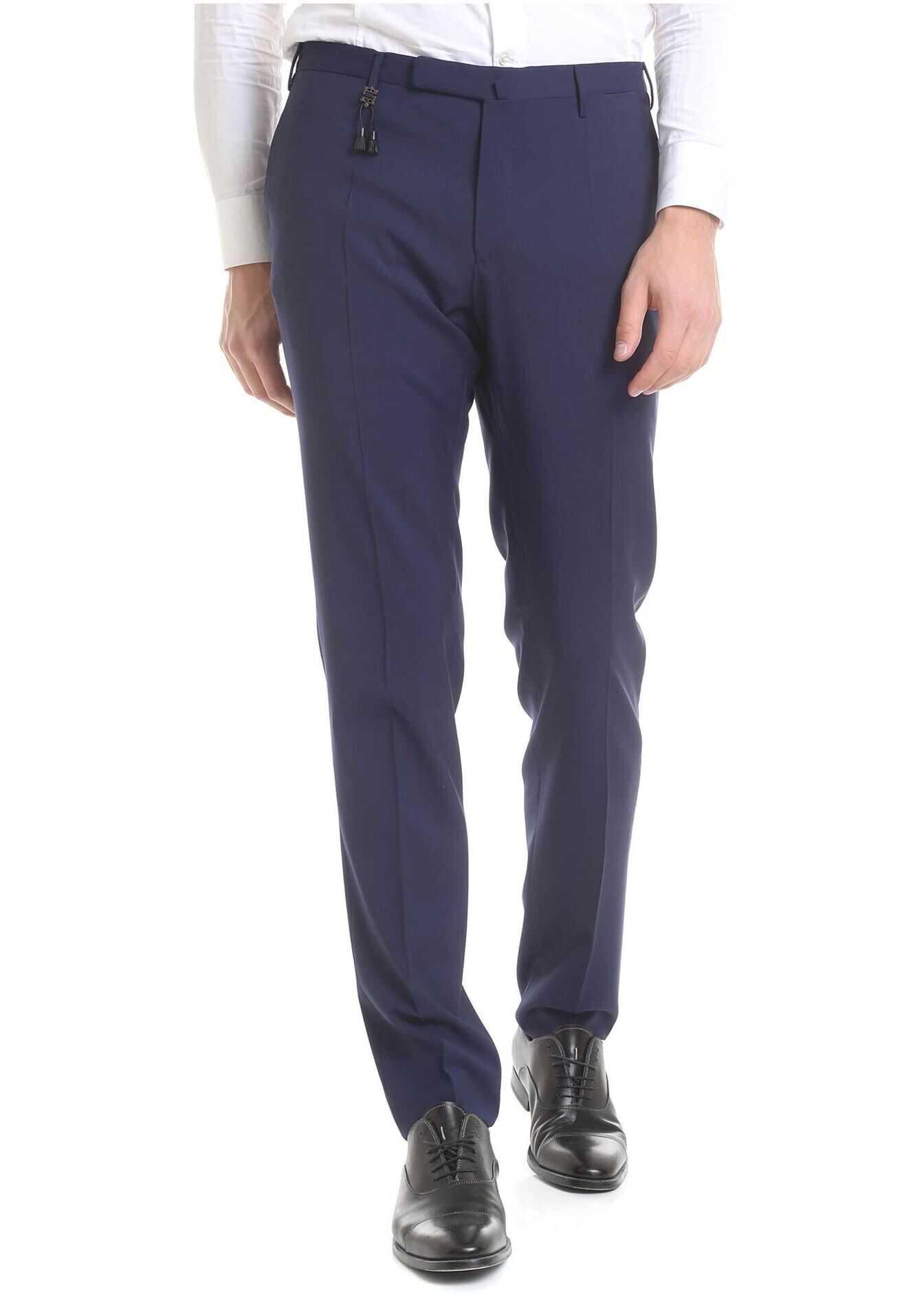 Incotex Bluette Virgin Wool Trousers Blue imagine