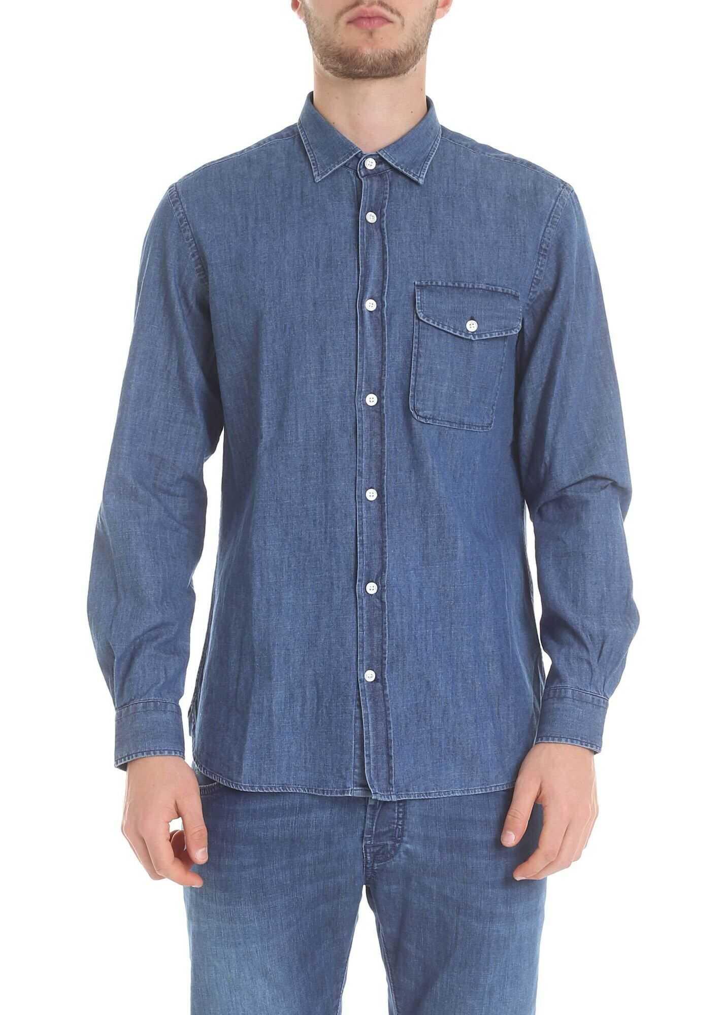 Woolrich Blue Slim Denim Shirt Blue imagine