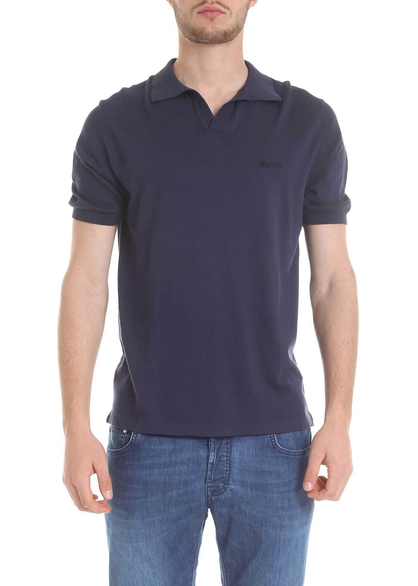 Woolrich Blue Cotton Polo Blue imagine
