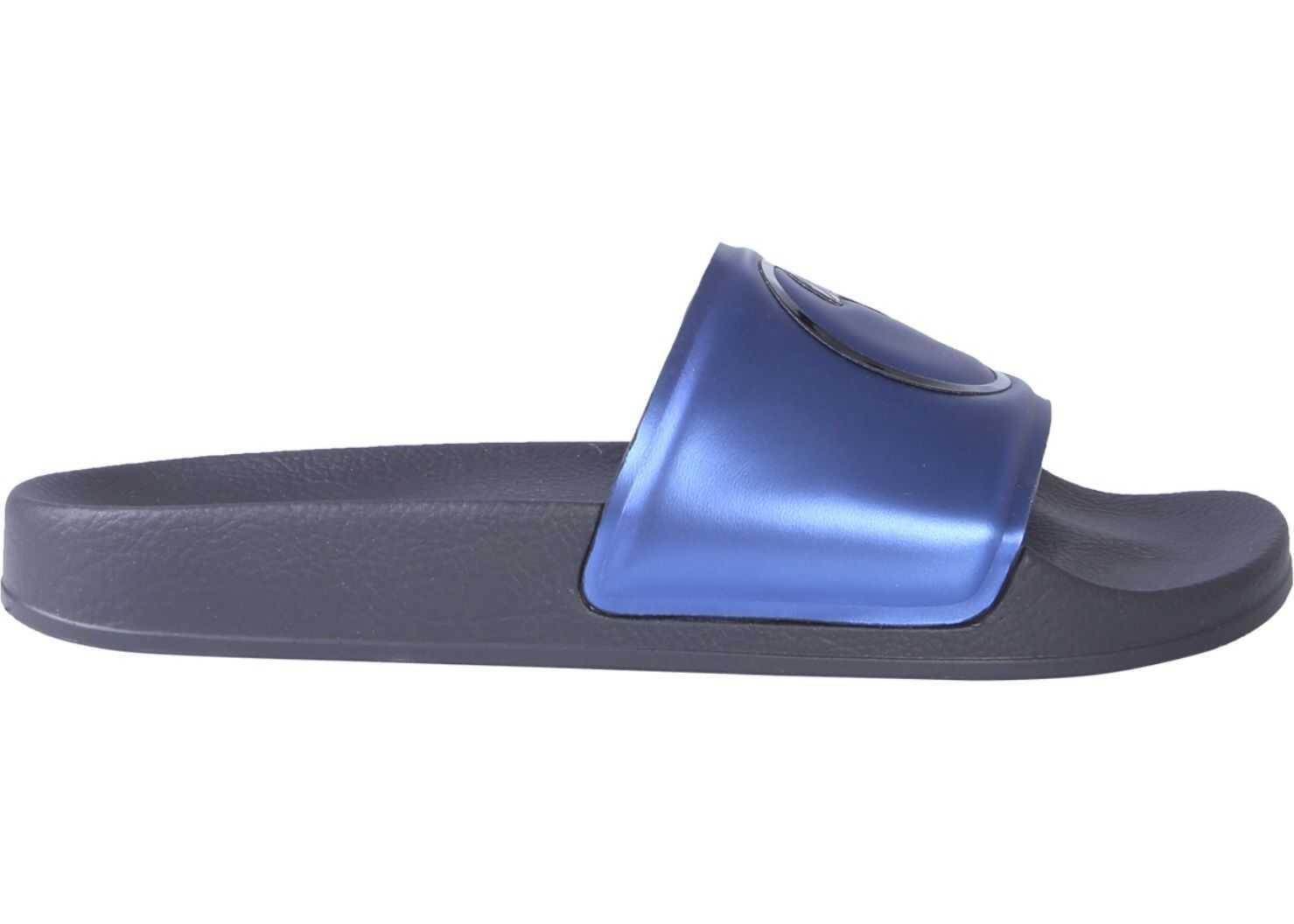 Versace Collection Slide Medusa Sandals BLUE