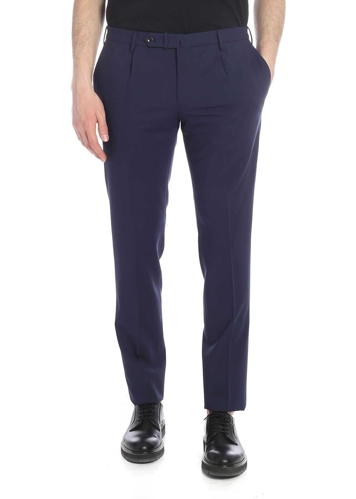Incotex Blue Trousers With Slit Pockets Blue imagine