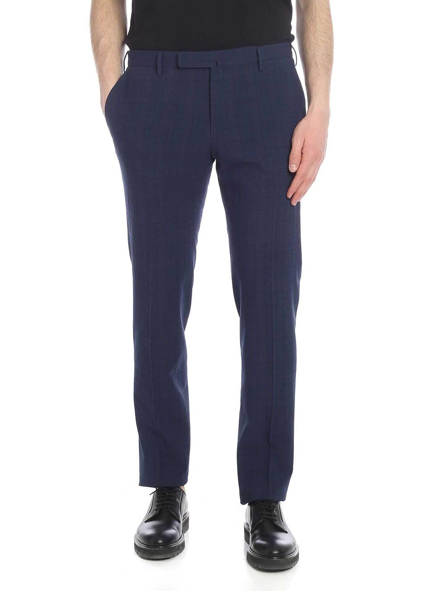 Incotex Blue Prince Of Wales Trousers Blue imagine