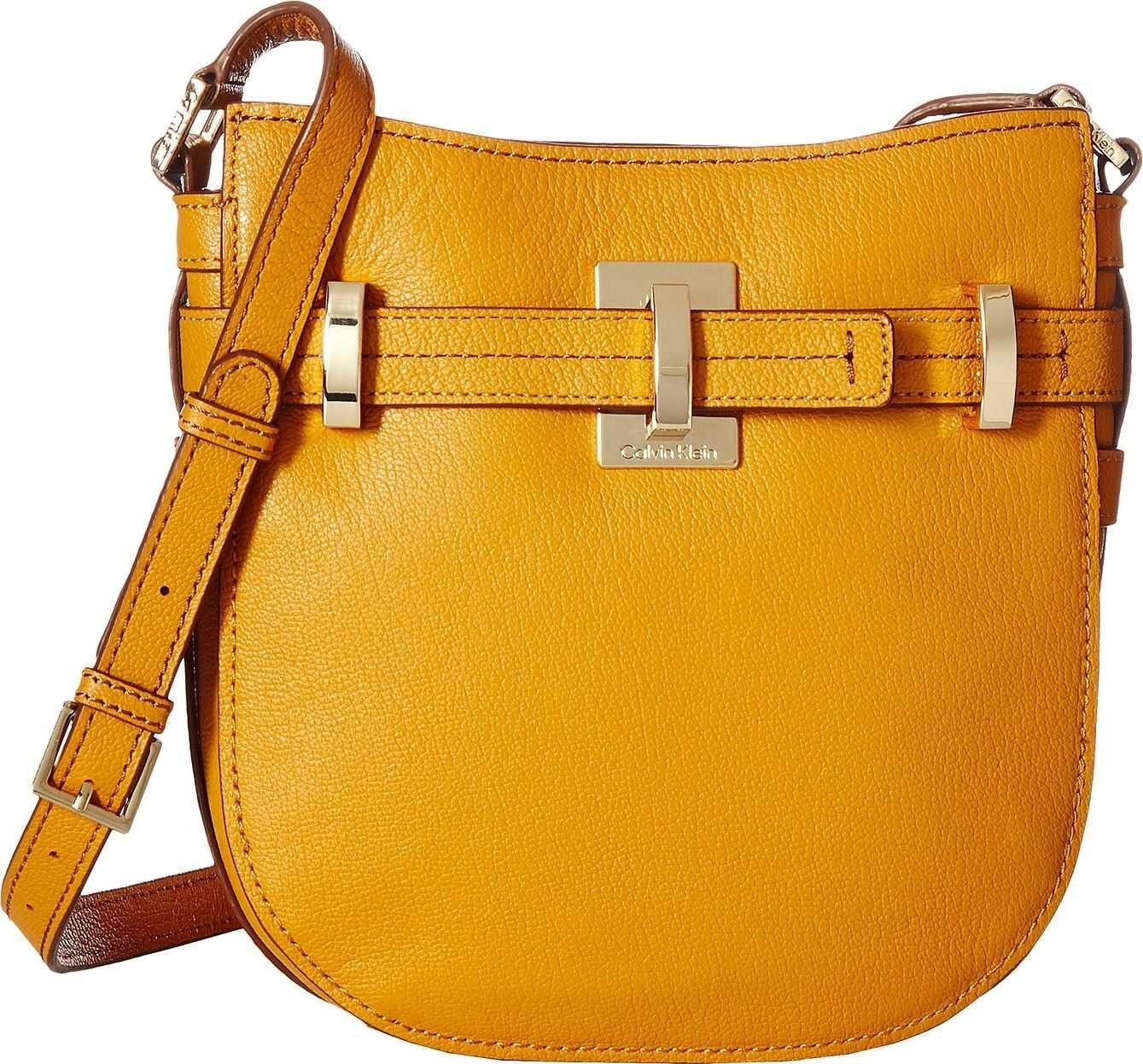 Calvin Klein Faye Goat Leather Messenger Saffron