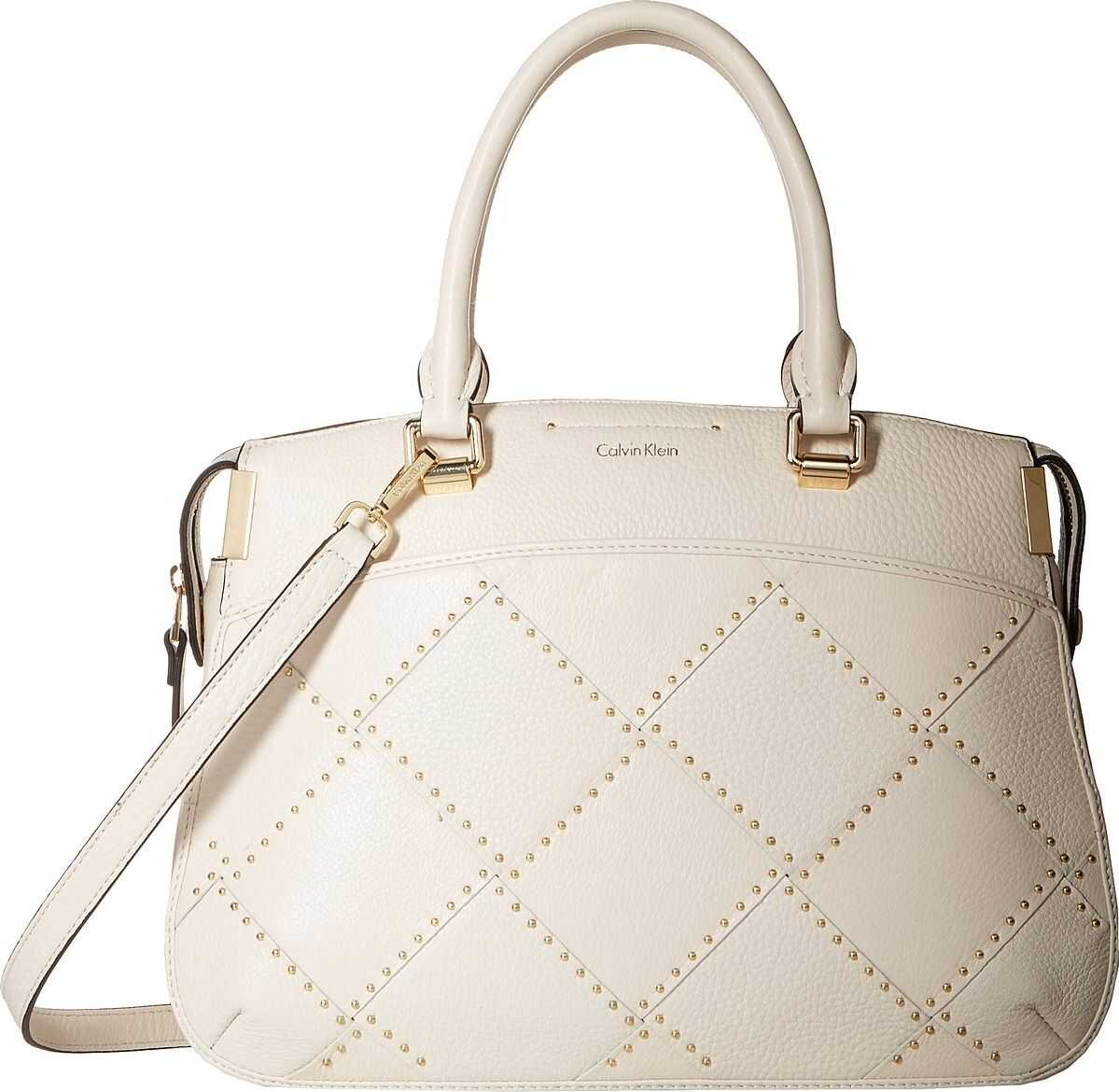 Calvin Klein Raelynn Pebble Leather Outline Stud Satchel Cherub White