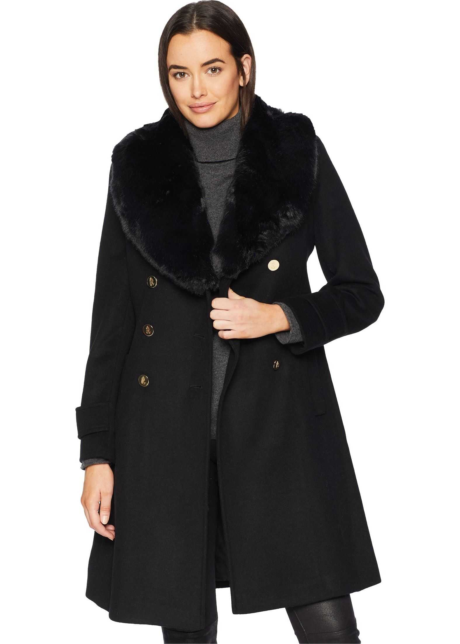 Double Breasted Military w/ Faux Fur Collar