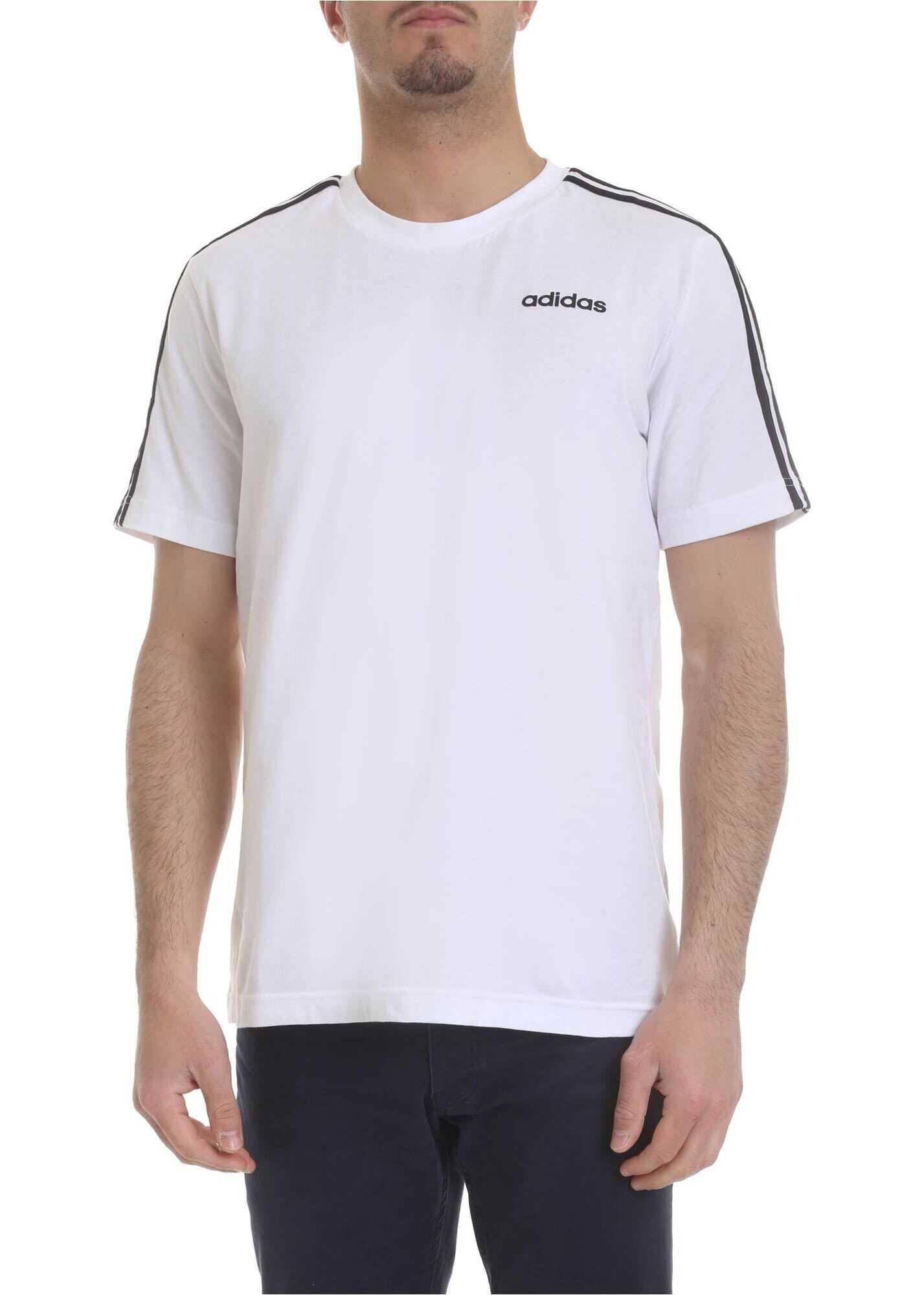 adidas Essetials-3 Stripes T-Shirt In White White