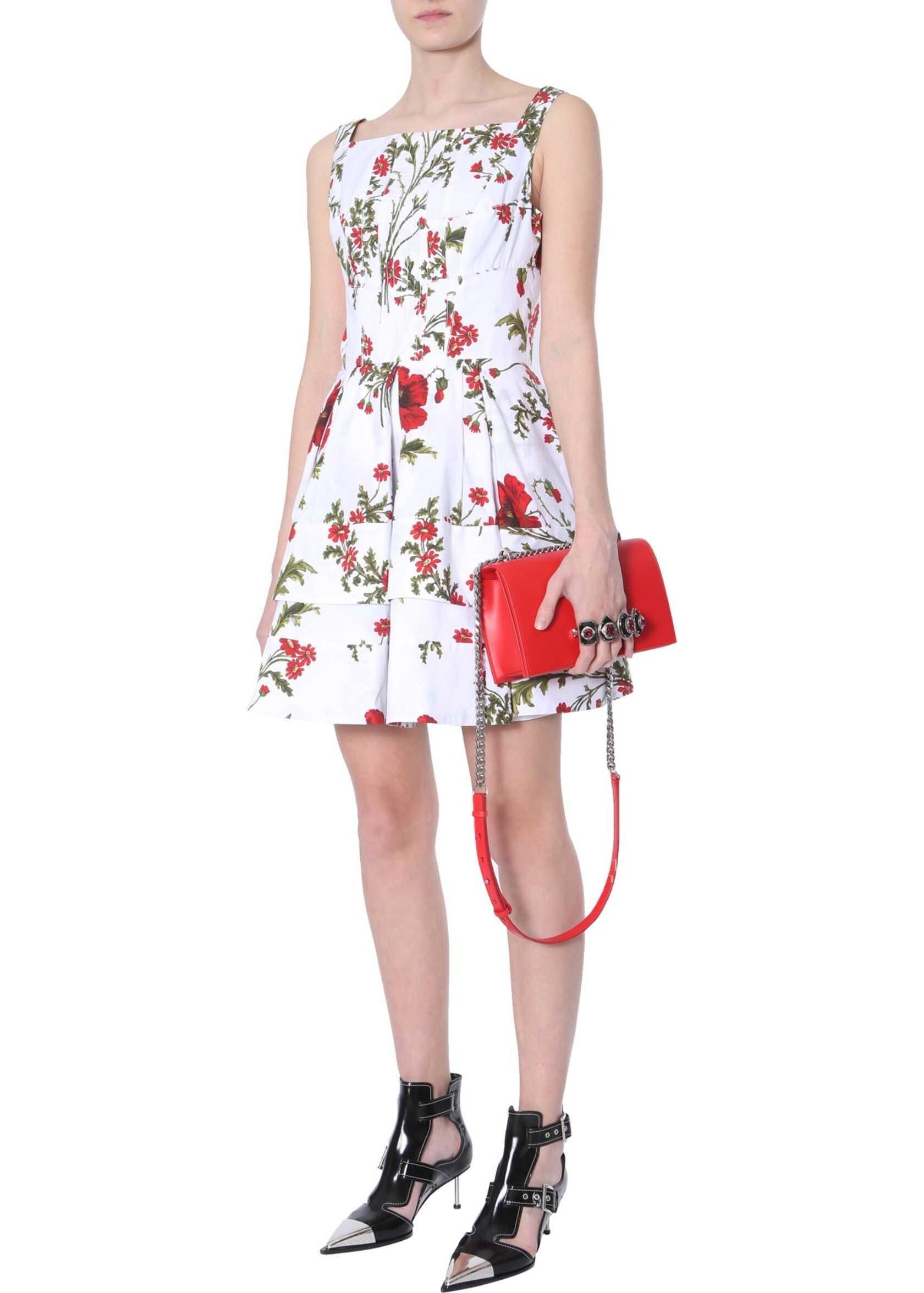 Alexander McQueen Dress With Poppy Field Print WHITE