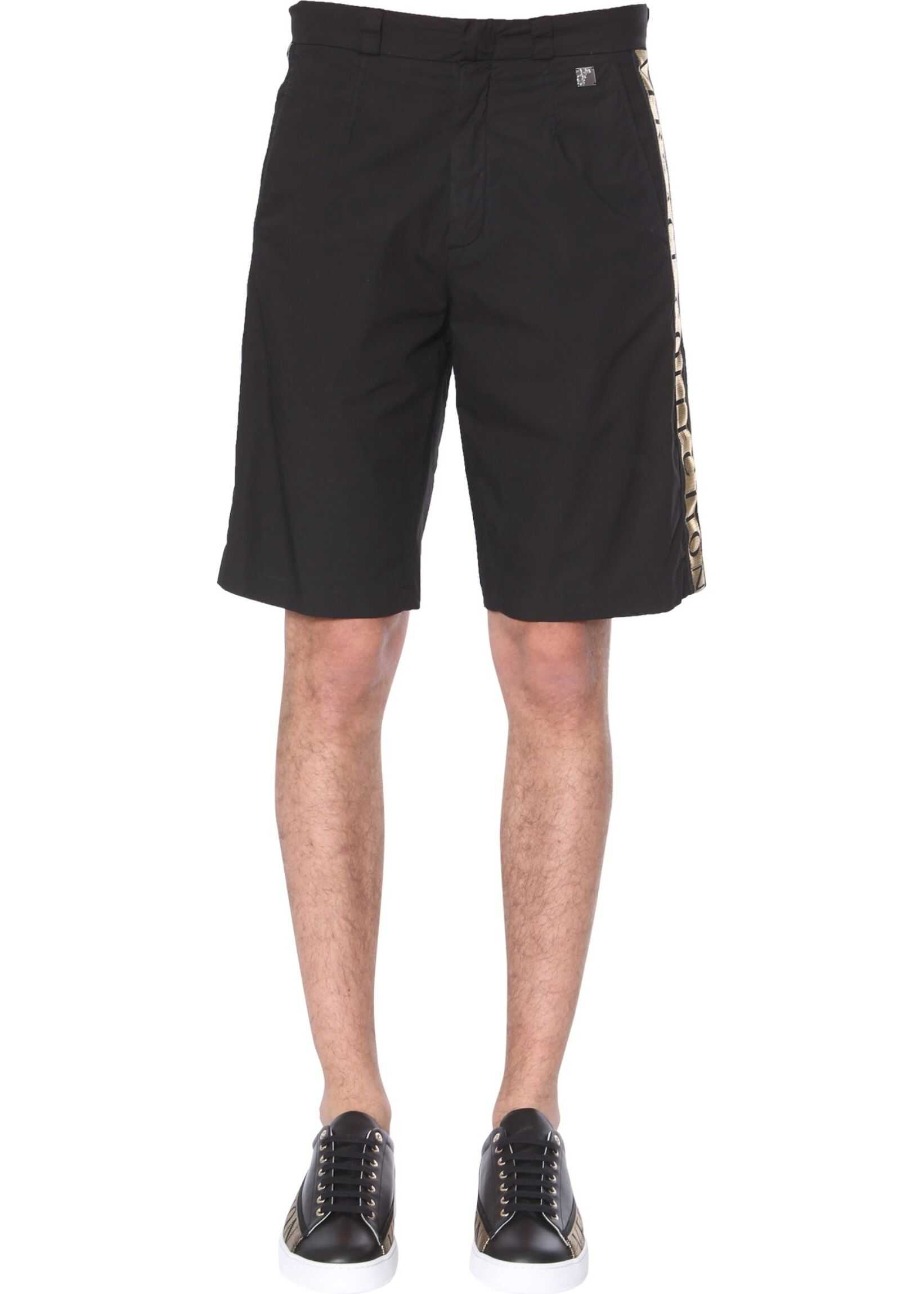 Versace Collection Shorts With Laminated Band Logo BLACK