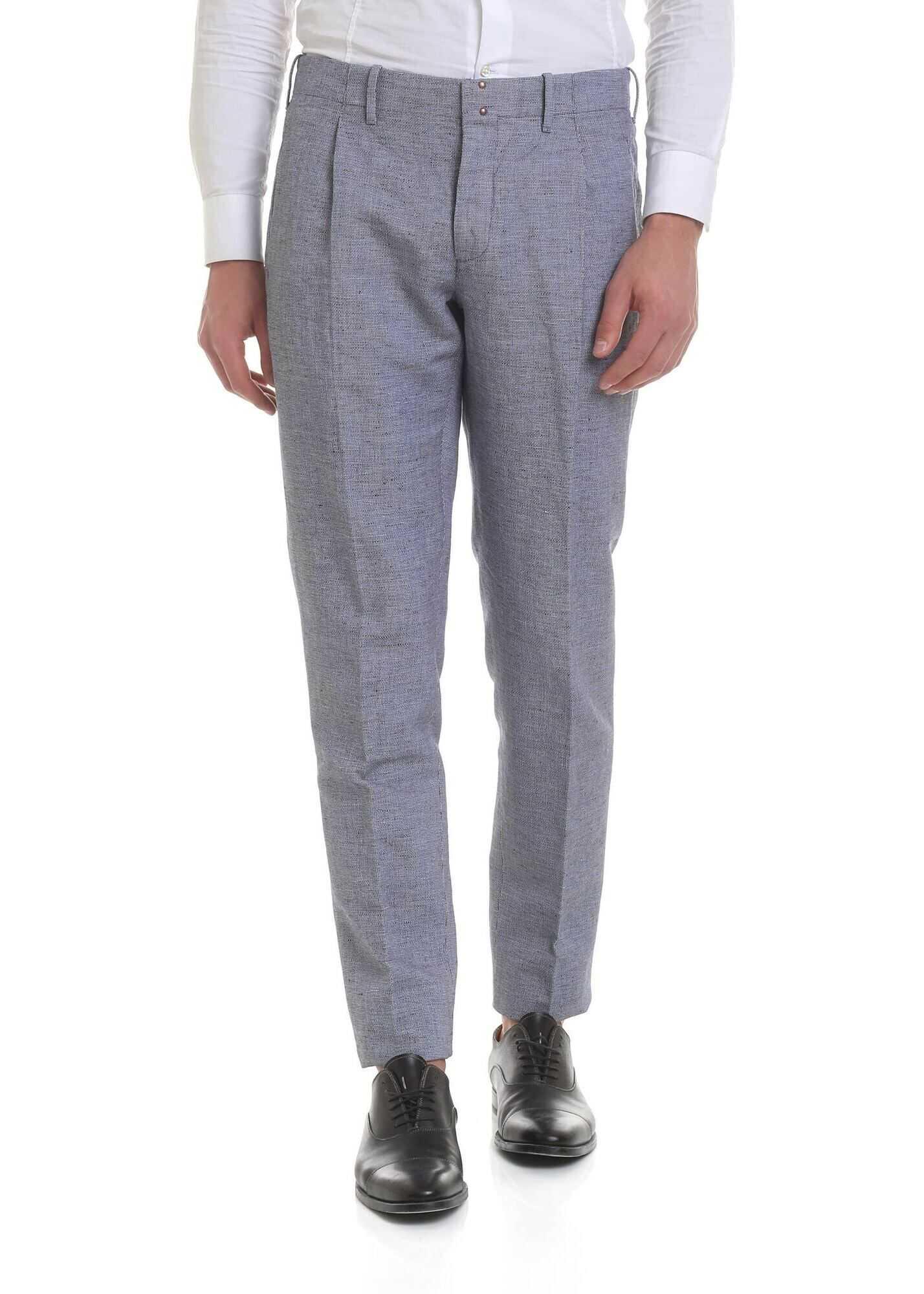 Incotex Blue Linen And Cotton Trousers Blue imagine