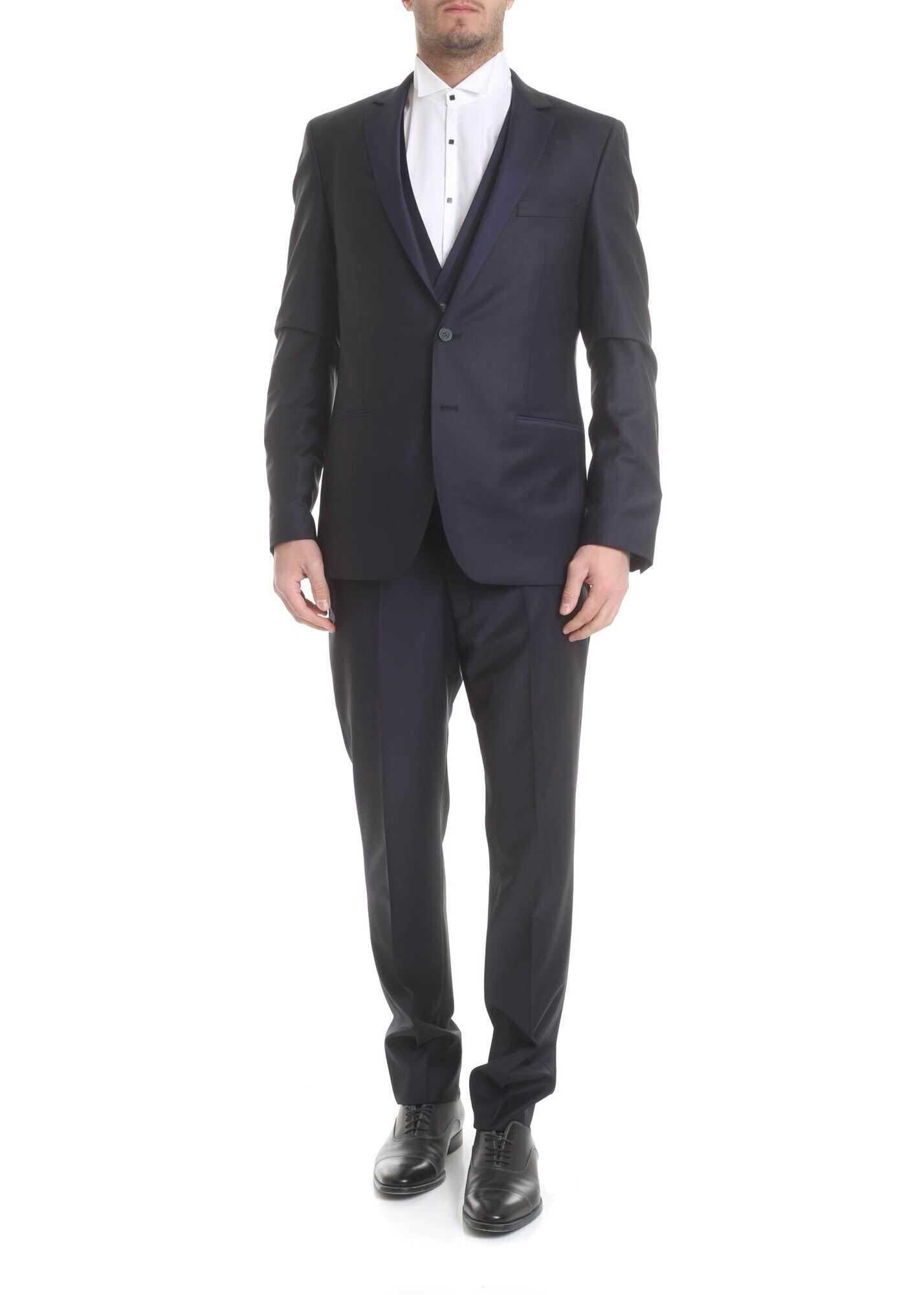 Karl Lagerfeld Dark Blue Virgin Wool Suit Blue