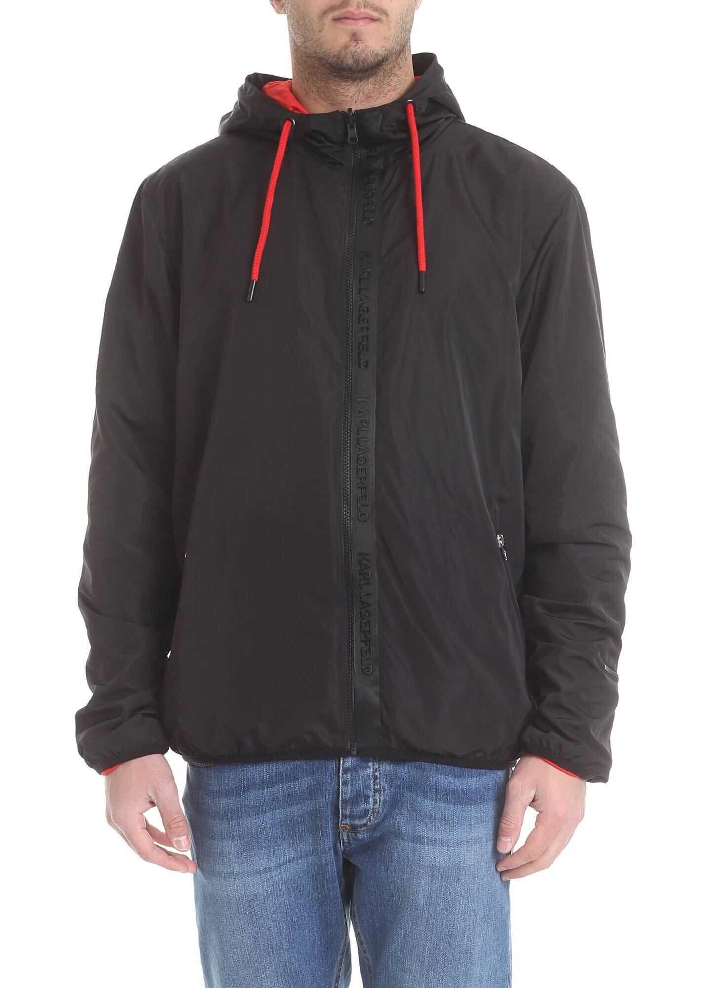 Karl Lagerfeld Reversible Jacket In Black Technical Fabric Black imagine