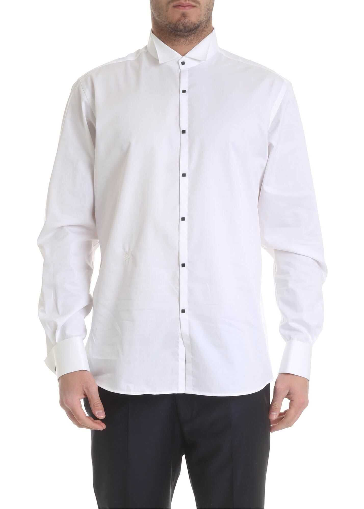 Karl Lagerfeld White Shirt With Studded Buttons White imagine