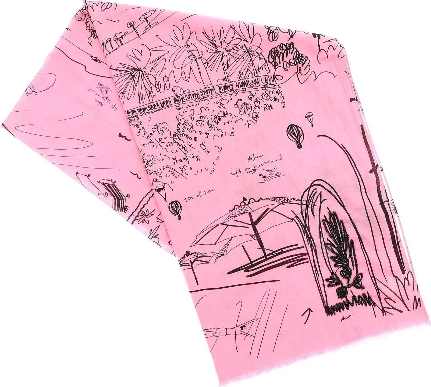 Paul Smith Journal Print Scarf In Pink Pink