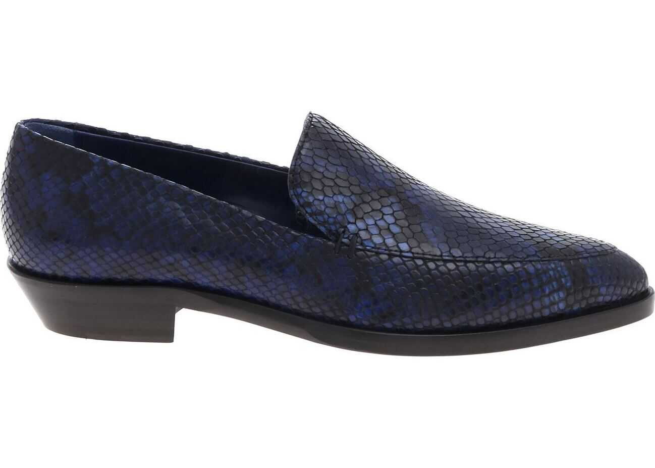 Paul Smith Reptile-Effect Loafer In Blue And Black Blue