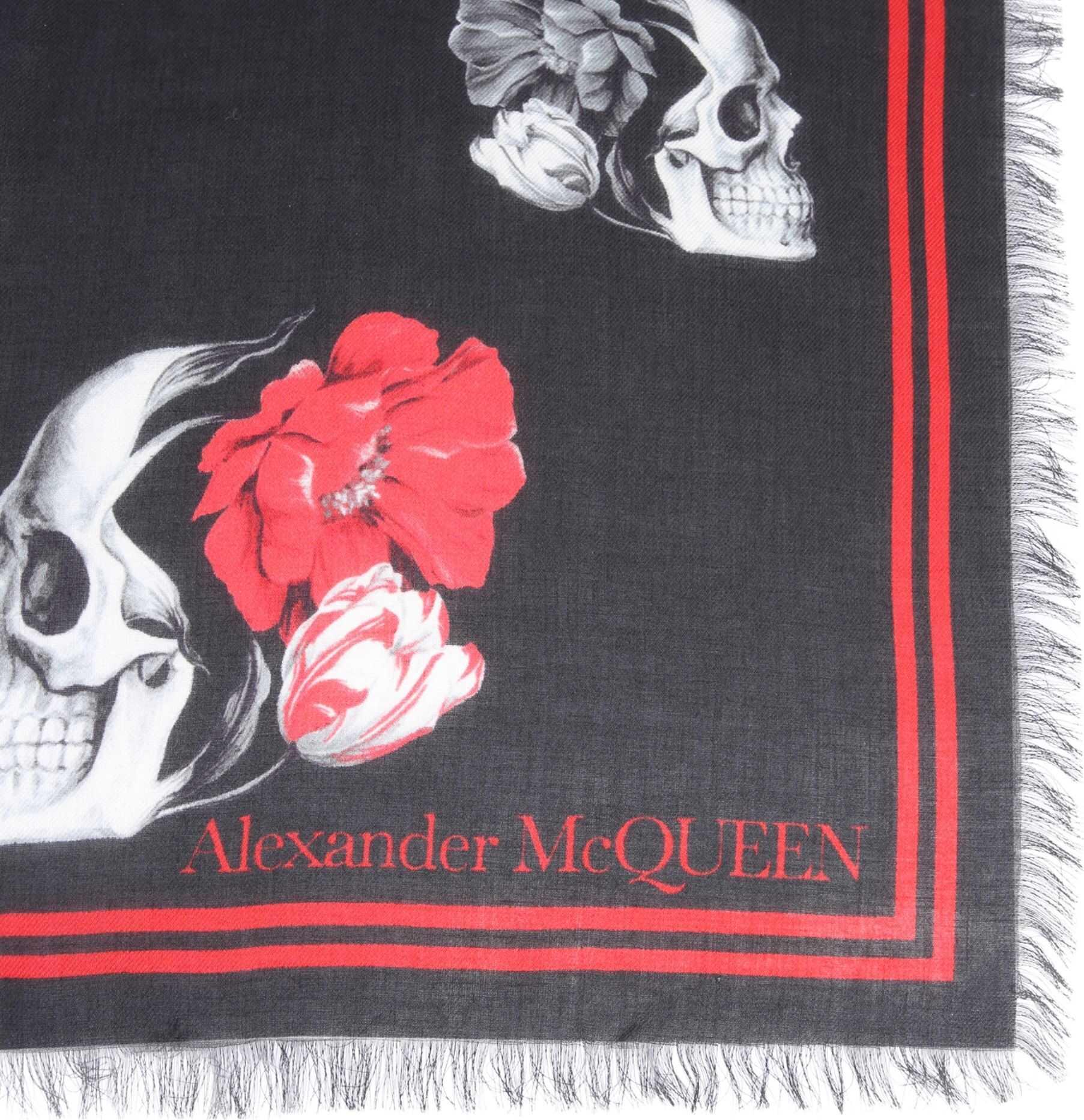 Alexander McQueen Multi Poppy Skull Foulard MULTICOLOUR