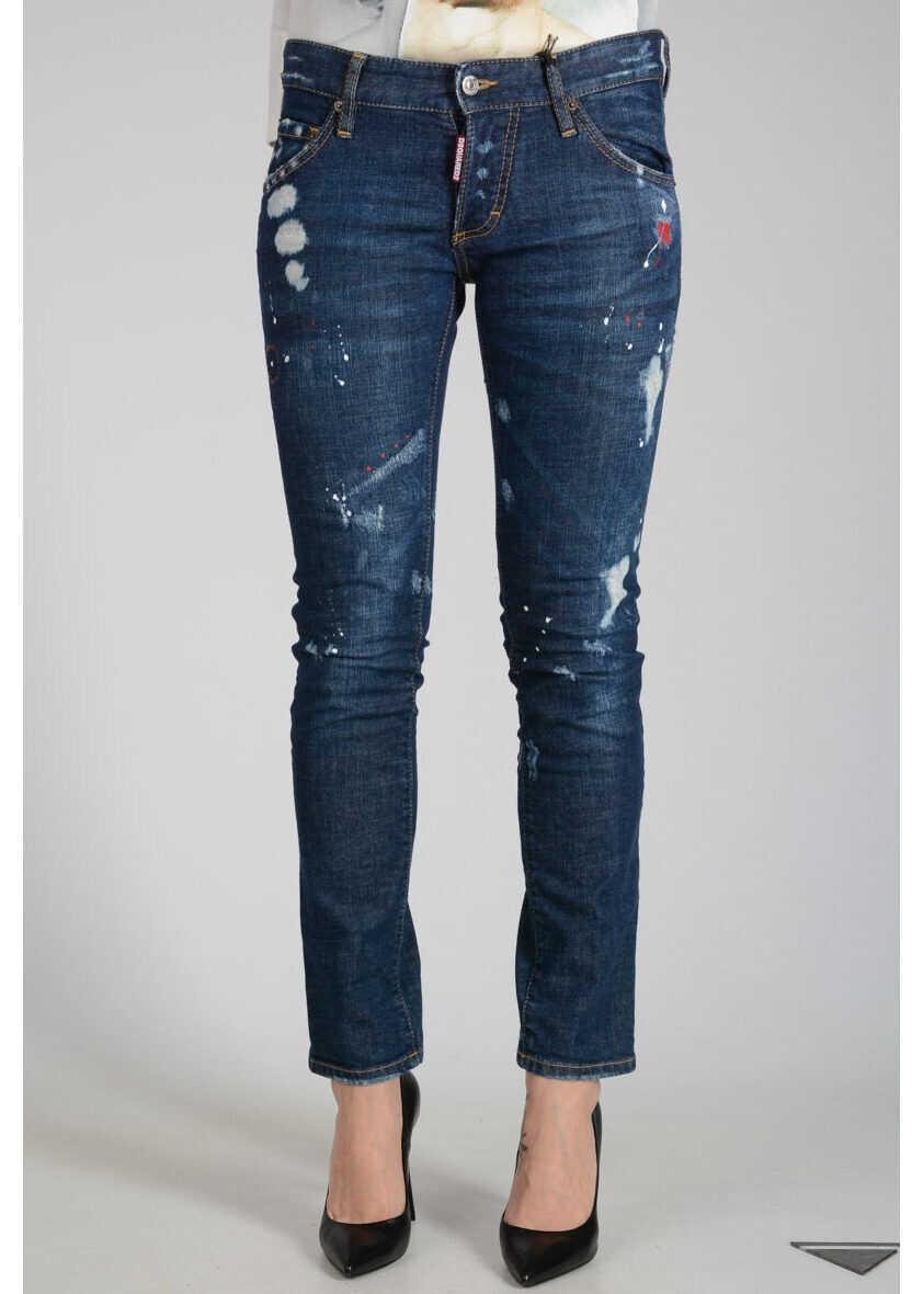 DSQUARED2 15 cm CLEMENT Destroyed Denim Jeans BLUE