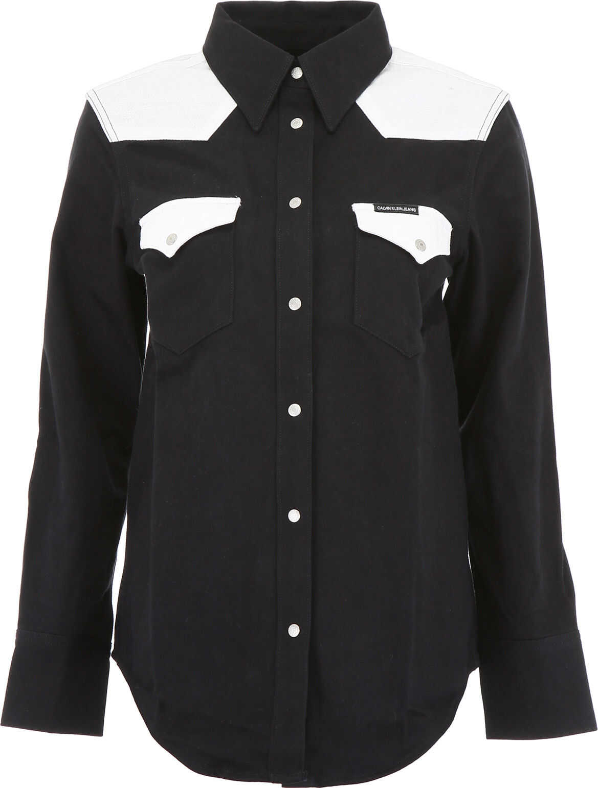Calvin Klein Jeans Bicolor Denim Shirt BLACK WHITE