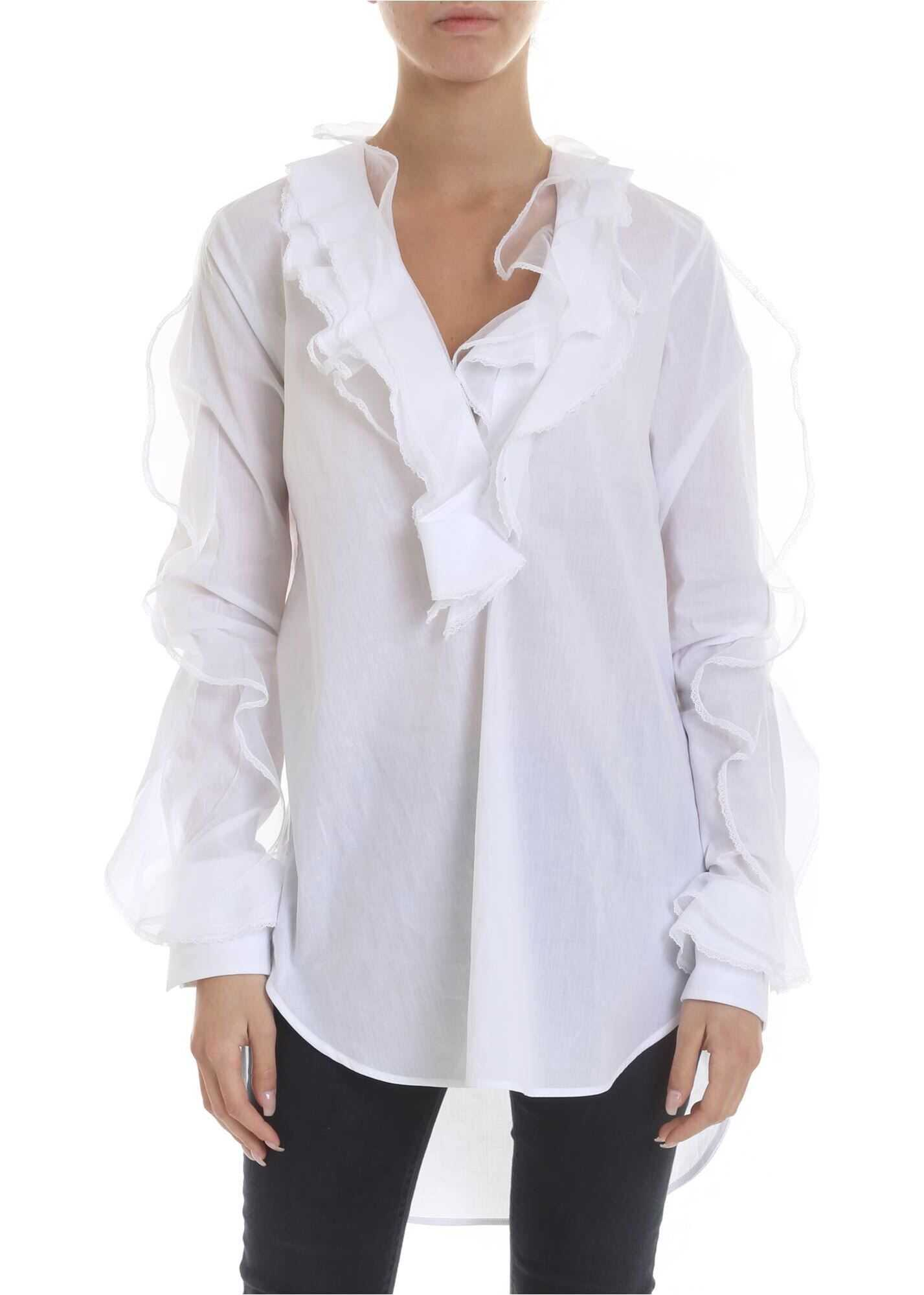 Blouse In White With Ruffles And Lace
