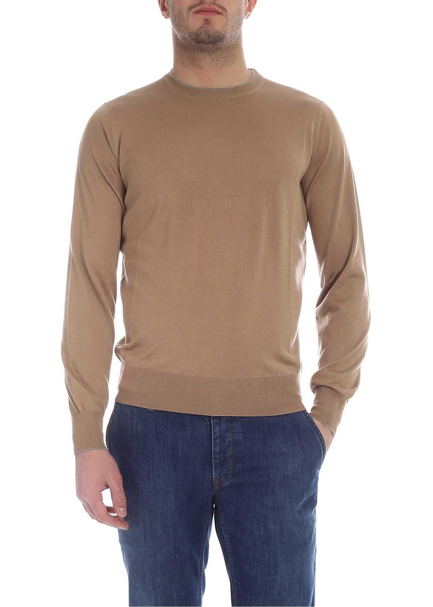 Brunello Cucinelli Camel Cashmere And Silk Sweater Camel imagine